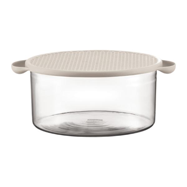 HOT POT: Plat en verre avec couvercle en silicone, 2.5 l