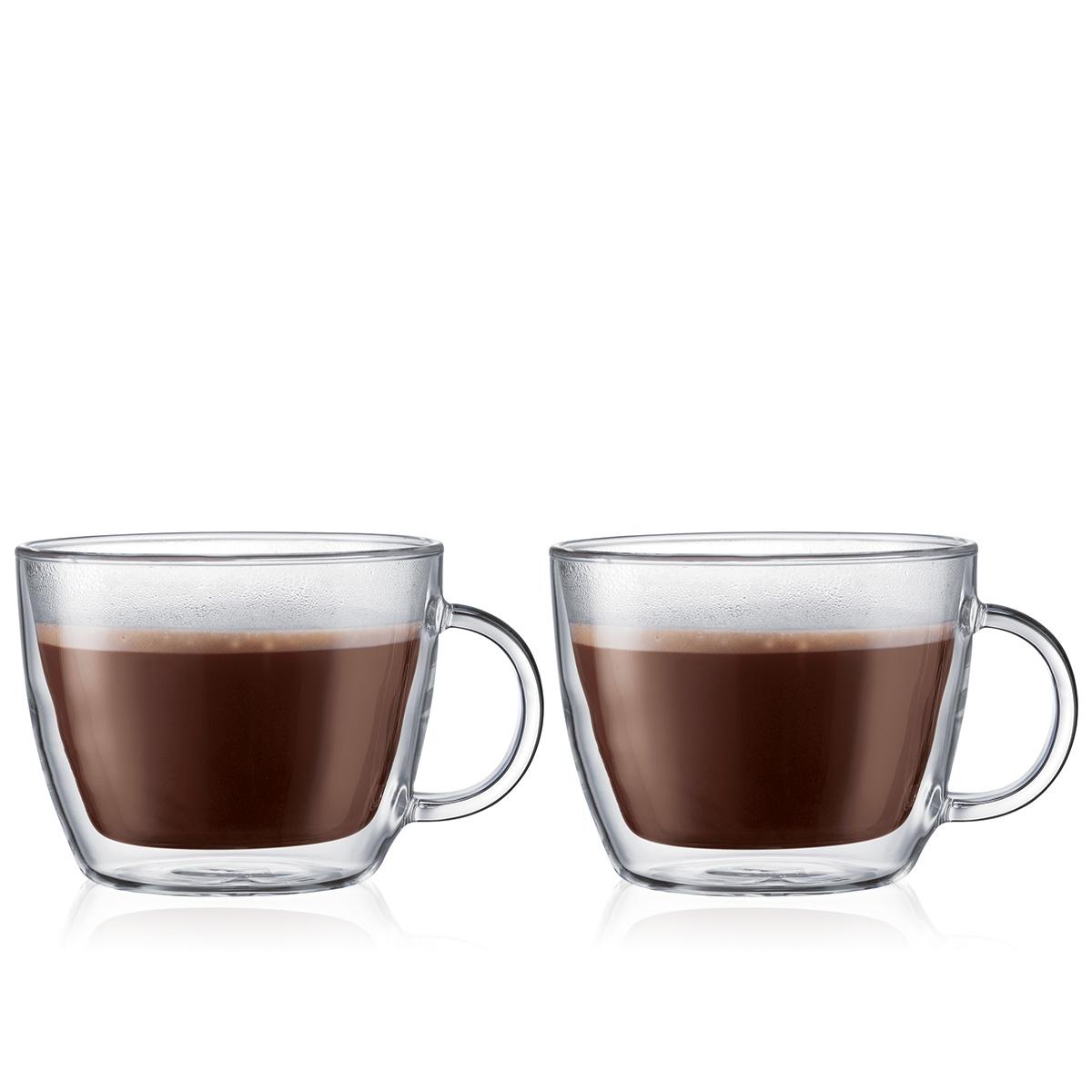 BISTRO: 2 chávenas térmicas para café com leite, parede dupla, 0.45 l