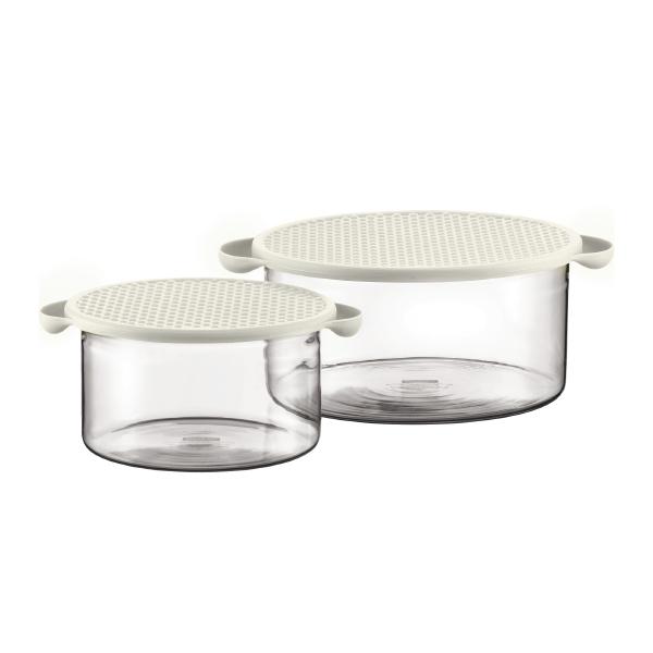 HOT POT SET: Set 2 plats en verre avec couvercle silicone, 1.0 l, 2.5 l