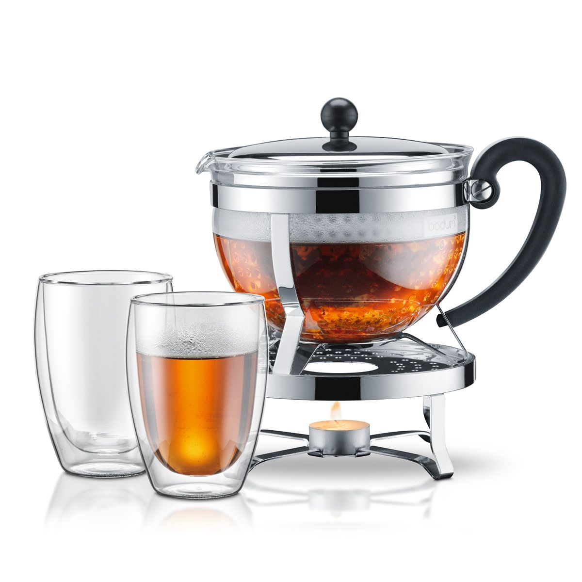 teapot with candle and 2 cups - Bodum