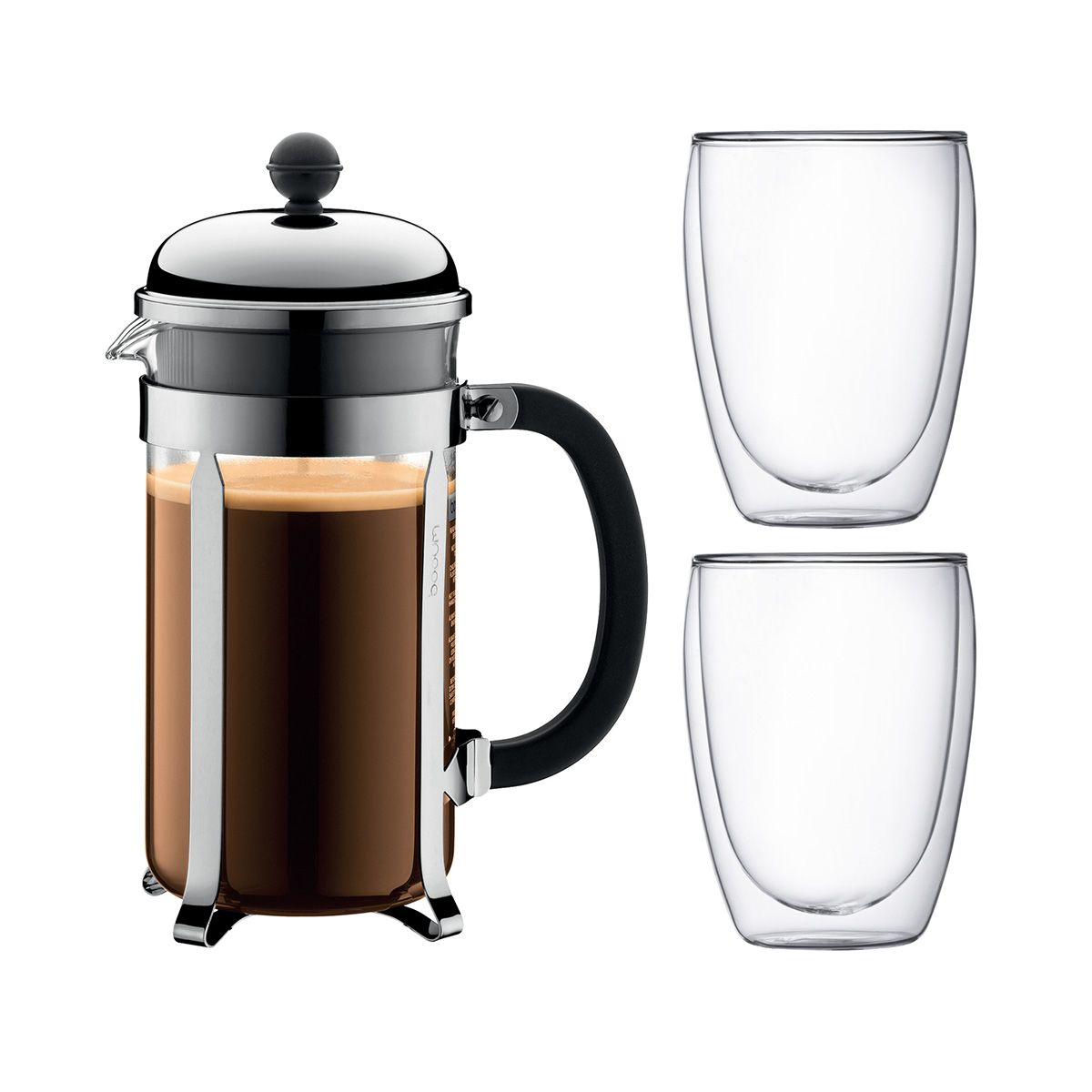 French Press Coffee Maker Double Wall Glass CHAMBORD PAVINA Bodum