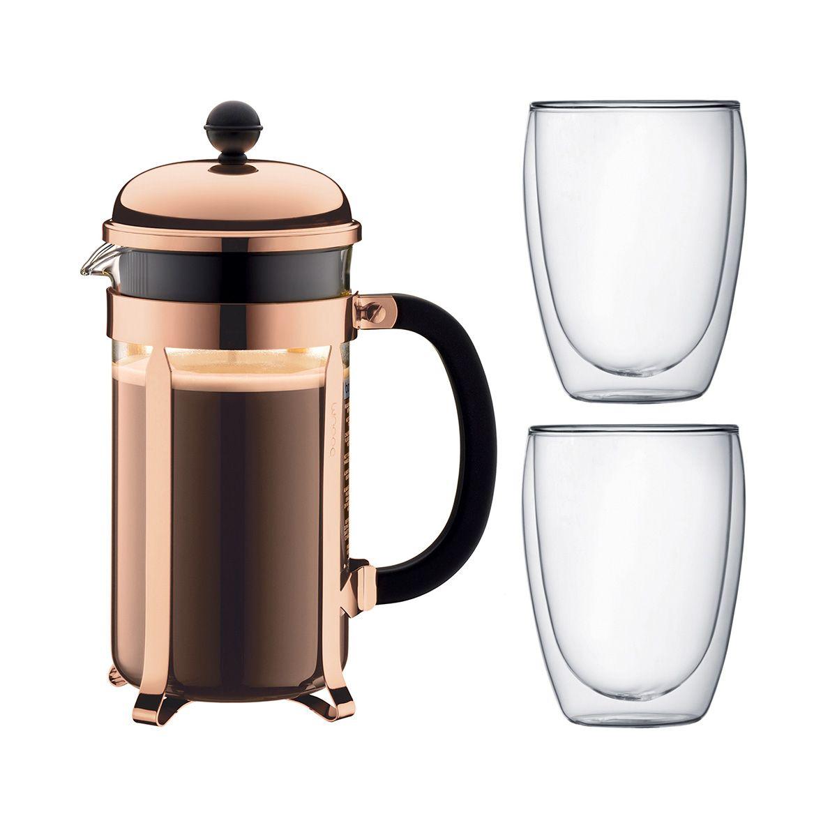 French Press Coffee Maker Double Wall Glass Set CHAMBORD PAVINA Bodum
