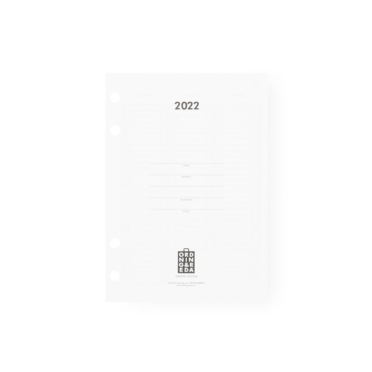 Diary 2022 INSERT Ordning and Reda