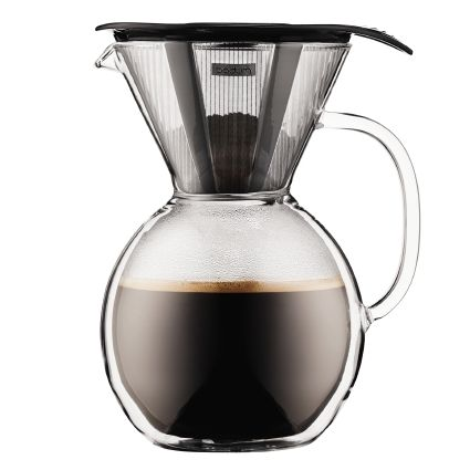 Bodum Pour Over Double Wall Glass Coffee Maker (Black)