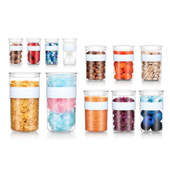 Set-of-12 Bodum PRESSO Storage Jars (Blue Moon)